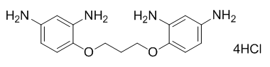 Chemical structure of 1,3-bis(2,4-diaminophenoxy)propane tetrahydrochloride