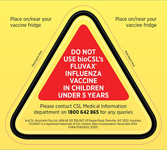 image of vaccine refrigerator warning sticker distributed by bioCSL