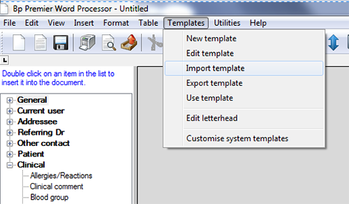 screenshot showing location of import template option