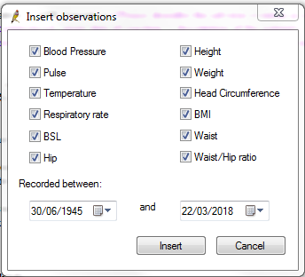 screenshot showing Insert observations dialogue box
