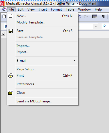 screenshot showing location of menu options 'File, New'