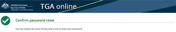 Screenshot of the 'Confirm password reset' page