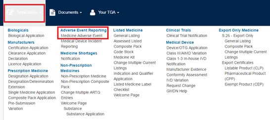 Screenshot of the Applications page highlighting the 'Adverse Event Reporting > Medicine Adverse Event' section