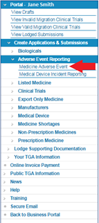 Screenshot highlighting how to create applications and submissions for a Medicine Adverse Event