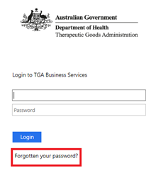 Screenshot of the Login to TGA Business Services page highlighting the 'Forgotten your password?' button