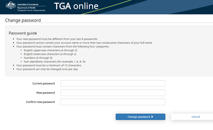 Screenshot of the 'Change password' page with instructions on how to create a new password