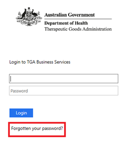 Screenshot of the TGA Business Services login page highlighting 'Forgotten your password?'button