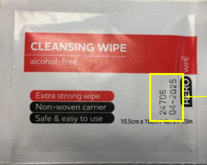 The front of the wipes' packaging highlighting where the batch number is printed.