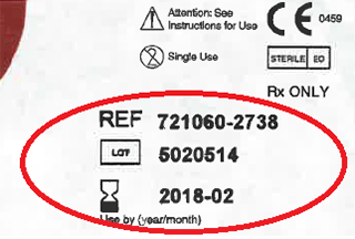 image indicating where the reference, lot number and expiry date are located