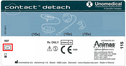 contact-detach label showing location of lot number