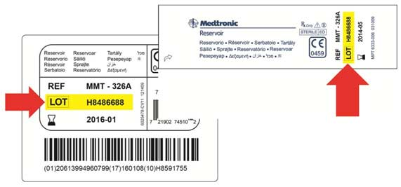 Location of batch number on Medtronic MiniMed insulin reservoirs