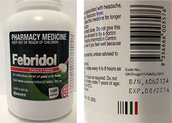 Image of the Febridol paracetmol bottle from the front and an image of the bottle from the back showing the batch number