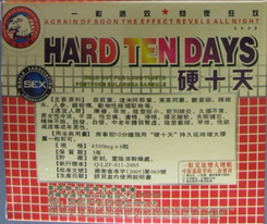 Packaging of Hard Ten Days capsules