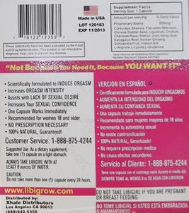 Back cover of the Libigirl packaging