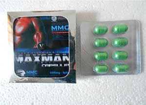 Packaging image of the MMC Maxman V and capsules on display