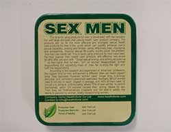 back image of the MMC Sex Men packaging