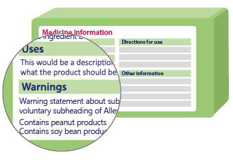 illustration of an over the counter medicine label