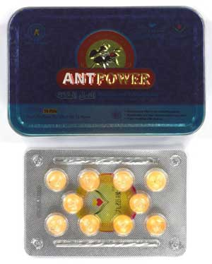 Ant Power package and blister pack with tablets