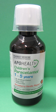 Bottle of Apohealth Childrens Paracetamol for 1-5 years