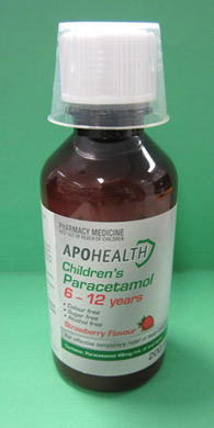 Bottle of Apohealth Children's Paracetamol for 6-12 years