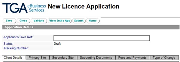 Screenshot: New Licence Application screen