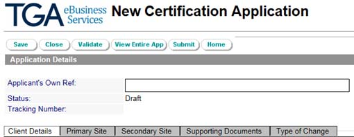 Screenshot: New Certification Application screen