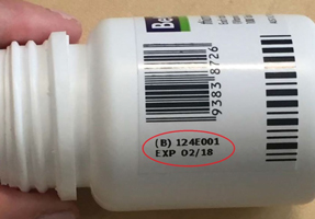 side of Betamin bottle showing batch number and expiry date
