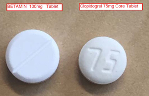 front faces of Betamin and Plavix/Iscover tablets