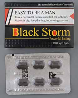 photo of Black Storm tablets and packaging
