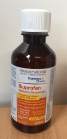 Recalled Pharmacy Choide Ibuprofen Children's suspension pill bottle - front view