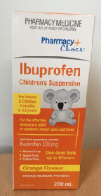 Recalled Pharmacy Choice Ibuprofen Children's suspension packaging - front view