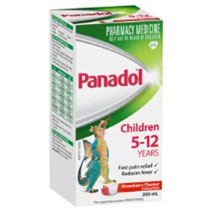 Children's Panadol 5-12 years strawberry flavour