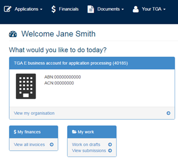 screenshot of TGA Business Services dashboard