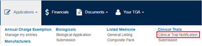 screenshot showing the Clinical Trial Notification link under the applications menu on the dashboard
