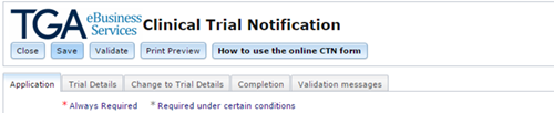screenshot showing a blank CTN form with the application tab open