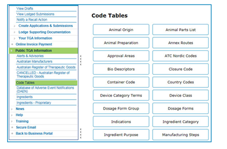 screenshot of the link to TGA Code Tables under Public TGA Information on the portal menu
