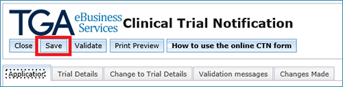 screenshot showing the Save button at the top of the CTN form
