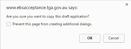 screenshot of dialog box: Are you sure you want to copy this draft application?