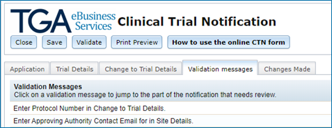 screenshot showing a list of Validation messages