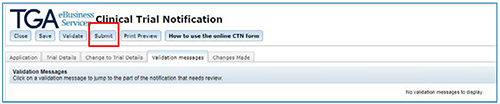 screenshot showing Close button at the top of the CTN form