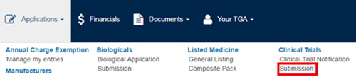 screenshot showing the Submission link on the Applications menu