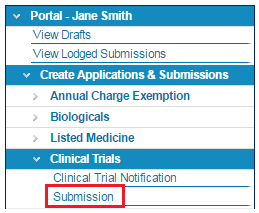screenshot showing the Submission link in the portal menu