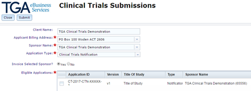 screenshot showing Clinical Trials Submissions page