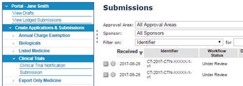 screenshot showing the Submissions page