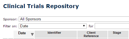 screenshot showing Clinical Trials Repository