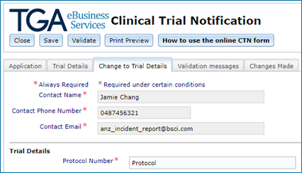 screenshot showing Change to Trial details tab in the CTN form