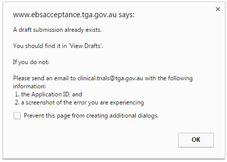screenshot of error message: A draft submission already exists. You should find it in 'View Drafts'