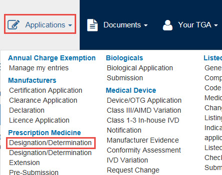 Screenshot: Applications dropdown menu with Designation/Determination Application highlighted