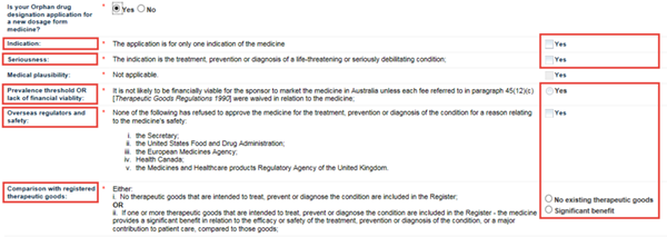 Screenshot: Orphan Drug Designation new dosage form fields and explanatory text