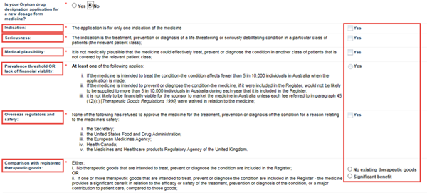 Screenshot: Orphan Drug Designation not a new dosage form fields and explanatory text
